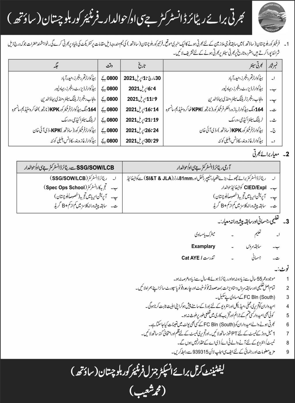 Frontier Corps Balochistan South Jobs 2021 For Instructors