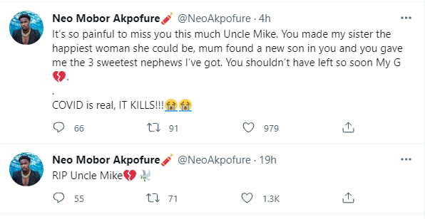 It's so painful to miss you this much- BBNaija star, Neo Akpofure loses his Uncle