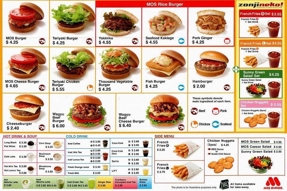 Japan Fast Food Menu