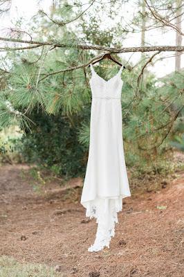 wedding dress in woods