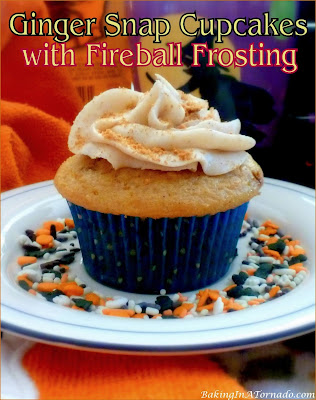 Ginger Snap Cupcakes with Fireball Frosting: warm Fall flavors are featured in these cupcakes topped with a Fireball whisky buttercream frosting. | recipe developed by www.BakingInATornado.com | #recipe #dessert