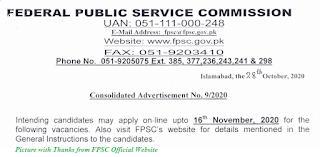 FPSC Jobs 2020 - Latest FPSC Jobs November 2020 Apply Online for FPSC Jobs 2020 www.fpsc.gov.pk FPSC Jobs Advertisement No. 09/2020