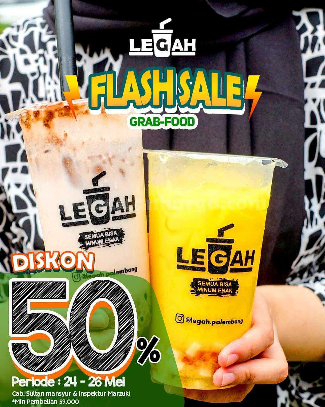 Promo LEGAH Flash Sale Diskon 50% Pemesanan via GRABFOOD