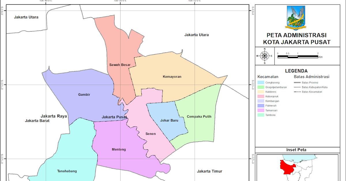 Peta Administrasi Kota Jakarta Pusat, Provinsi DKI Jakarta ...
