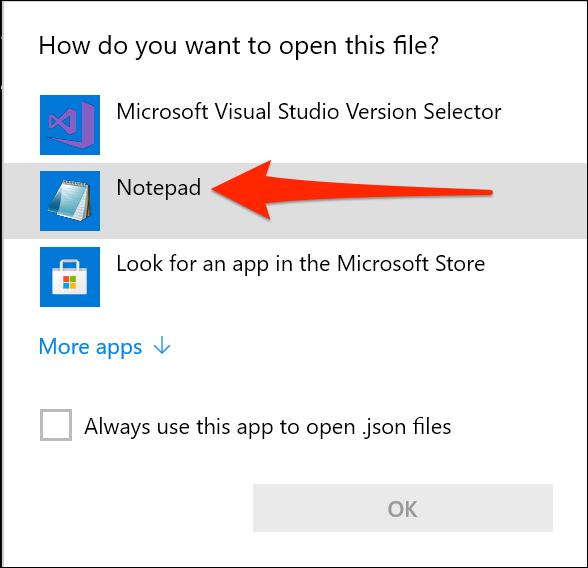افتح إعدادات Windows Terminal باستخدام برنامج Notepad