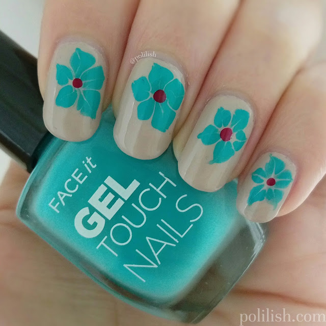 Floral dry marble nail art by polilish