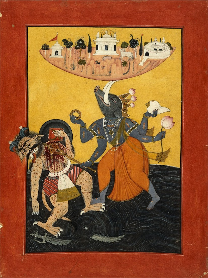 Varaha (Third Incarnation of Vishnu) with Bhu (Earth) Killing sea Demon - Pahari Painting c1700-1710