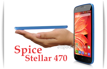 Spice Stellar 470: 4.7 inch,1.3 GHz Quad Core Android Phone Specs, Price