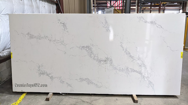 statuary Maxima white quartz slab for countertop NYC