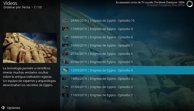 Enigmas de Egipto addon dplay kodi