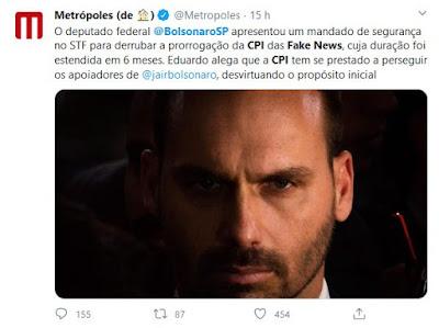 Eduardo Bolsonaro contra CPI das Fake News