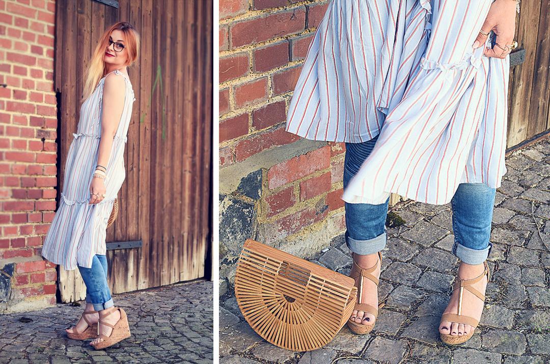 Bloggerlook mit Kleid über Hose, Sandalen mit Korkabsatz