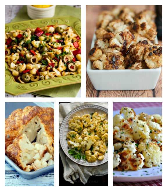 Roasted Cauliflower Recipes featured for Low-Carb Recipe Love on Fridays found on KalynsKitchen.com