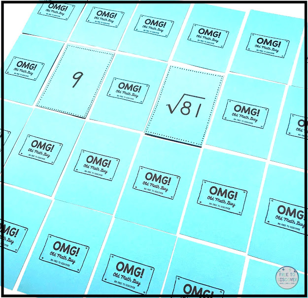 square and cube roots memory game with omg cards