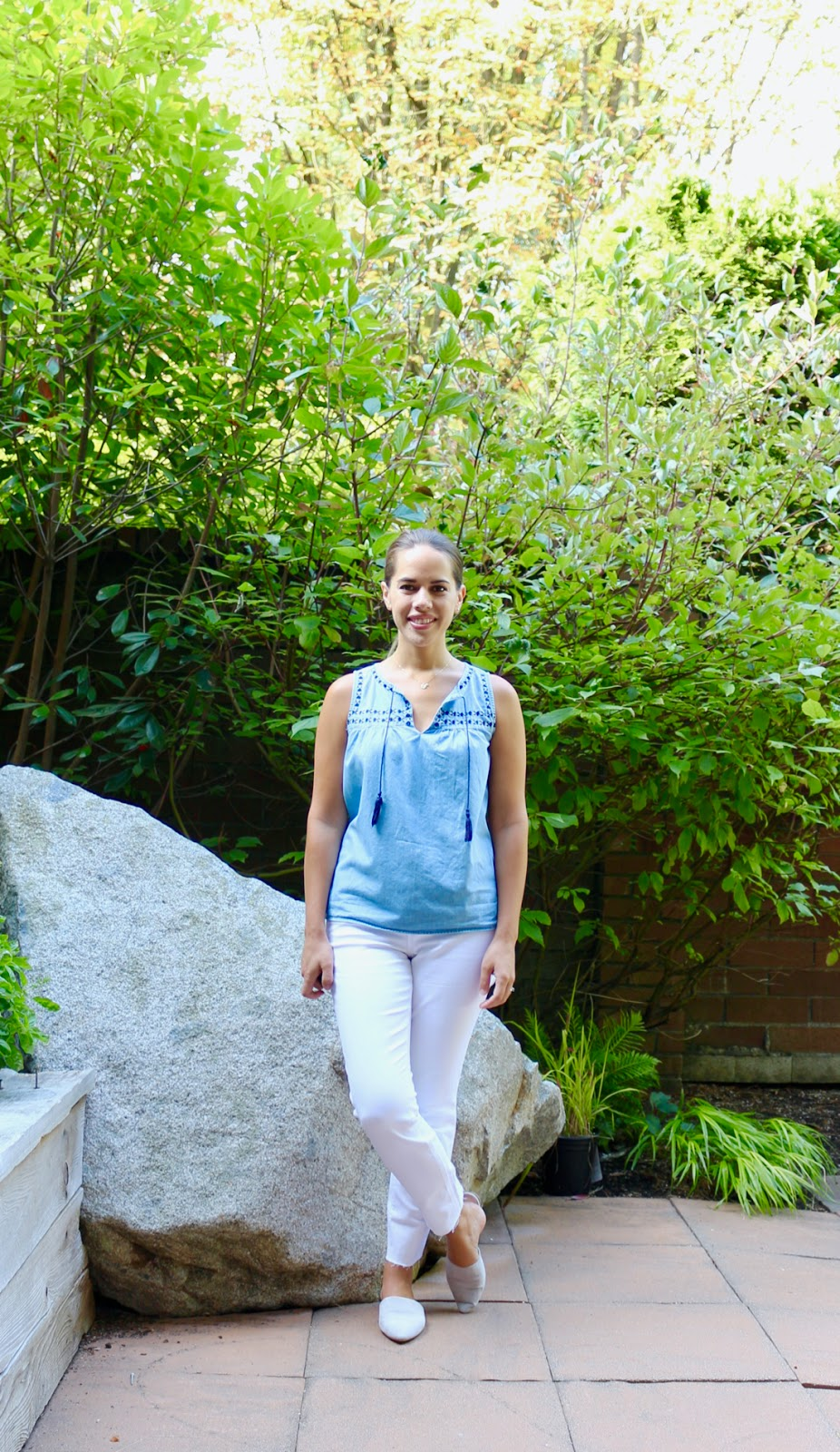 Jules in Flats - Chambray Tassel Tie Top with White Jeans (Business Casual Spring Workwear on a Budget)