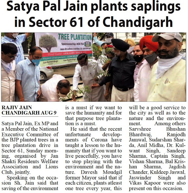 Satya Pal Jain plants saplings in Sector 61 of Chandigarh