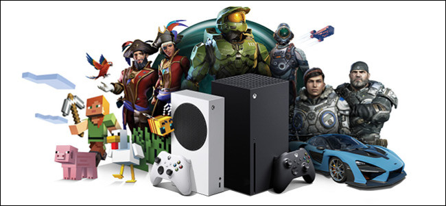 وحدات تحكم Xbox Series X و S محاطة بشخصيات من ألعاب Microsoft.