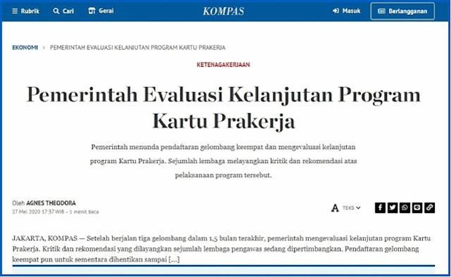 Sudah Saatnya Presiden Jokowi Hentikan Program Kartu Pra Kerja, Selamatkan Uang Negara Rp 5,6 Triliun