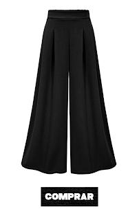 Pantalon negro palazzo acampanado mujer