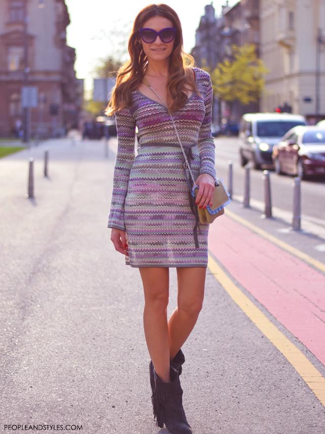 Street style look: Isabel Marant boots, Missoni dress, Mariposa torba, Kristina Bradač