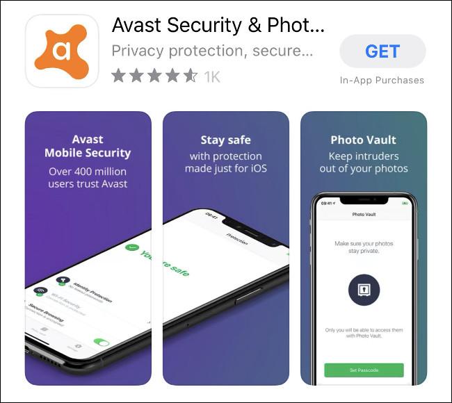 تطبيق Avast Mobile Security لنظام التشغيل iOS في متجر التطبيقات.
