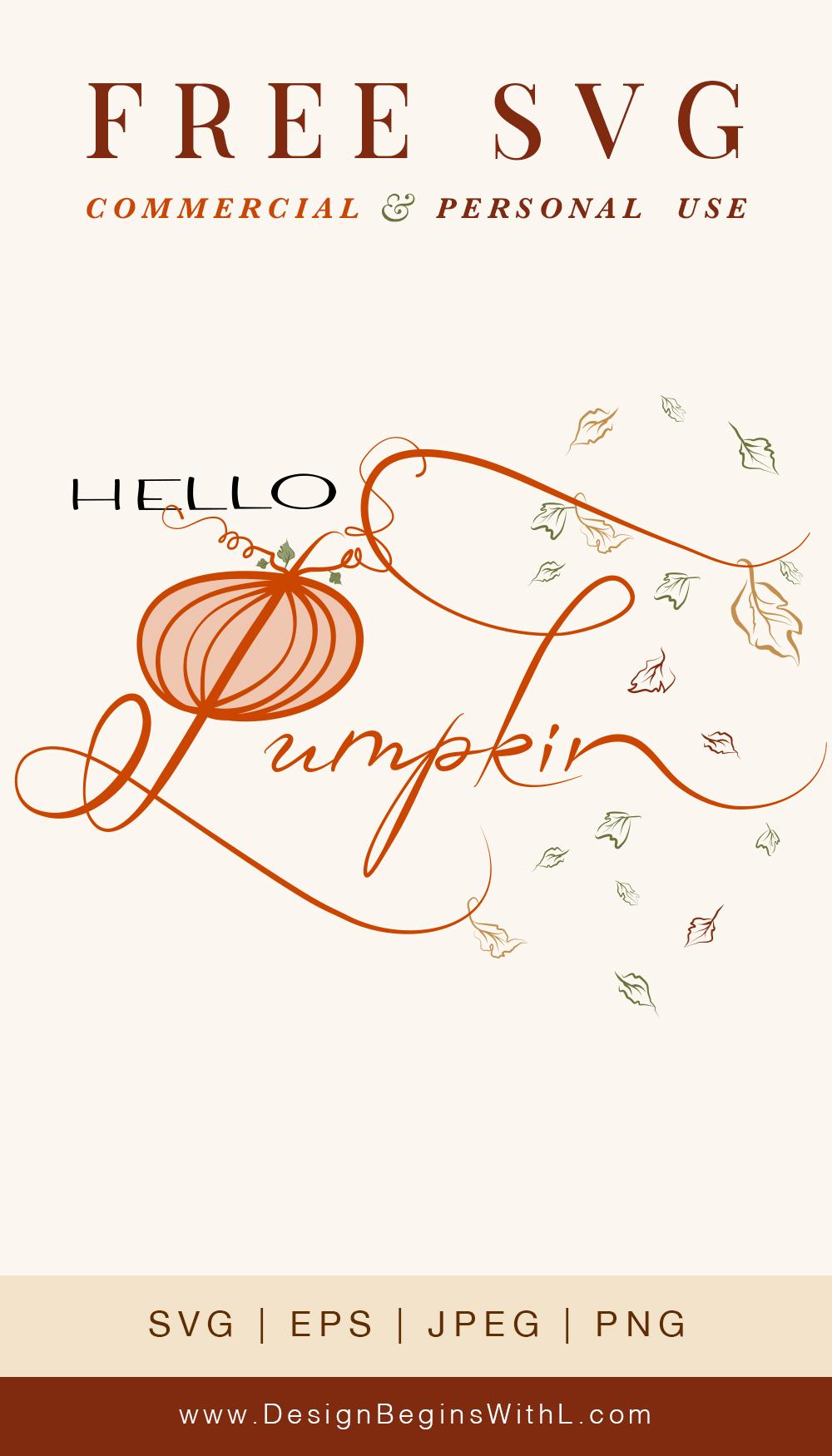 Hello Pumpkin Free Svg