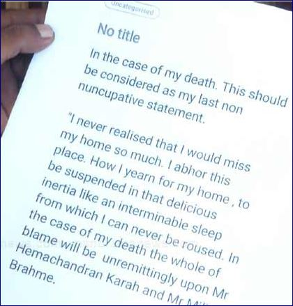 The suicide note of Fathima Latheef