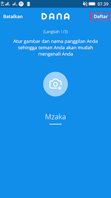 nama kamu di aplikasi dana android