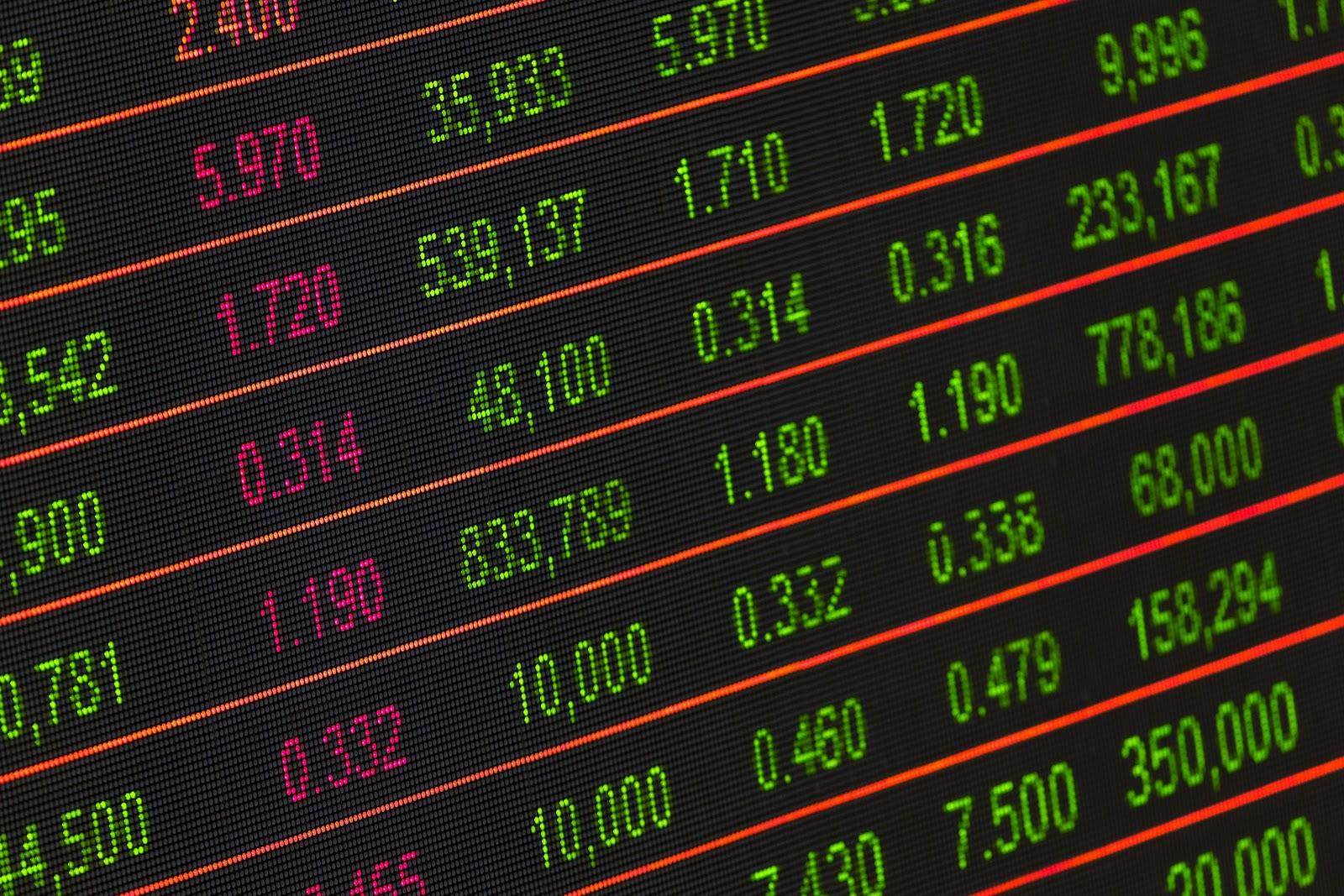 株式市場の値動きの電光掲示板