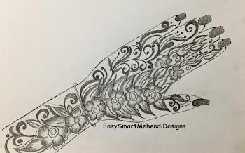 Flower and Leaf Mix Design for Back Hand