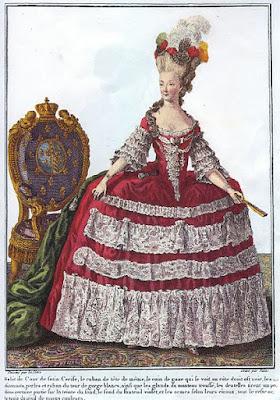 Ilustração de moda com a  rainha como modelo, 1779