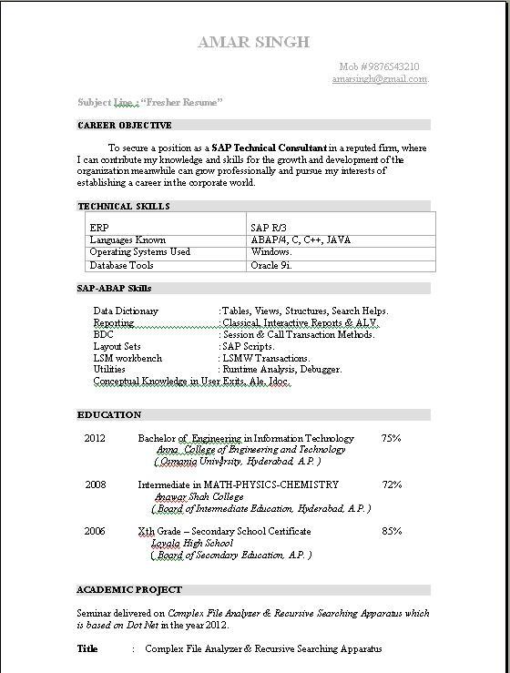sap sd cin sample resumes