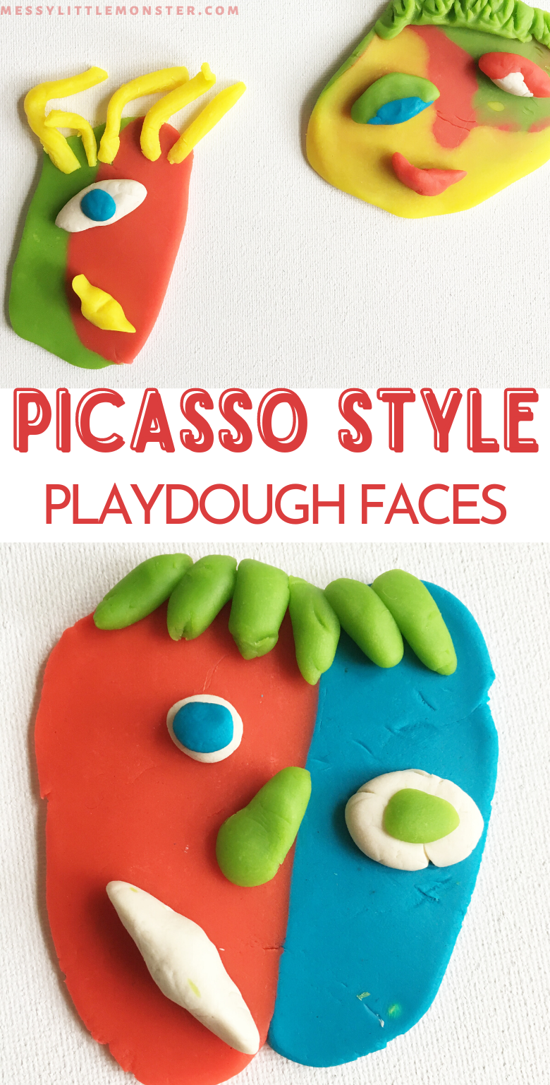 Picasso art for kids. Picasso inspired playdough faces. Famous artists for kids.