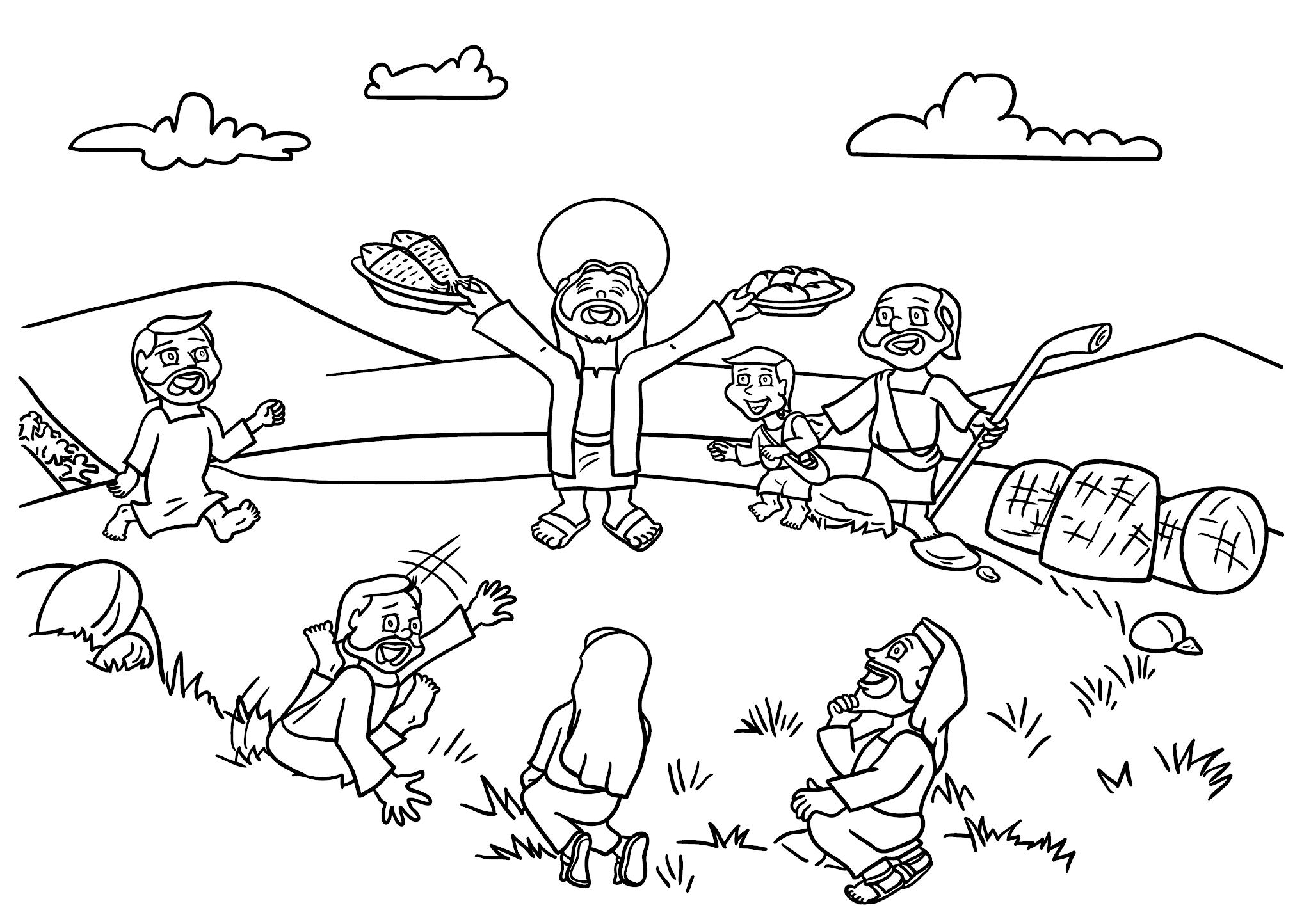 Jesus e a multiplicação dos pães e dos peixes - para imprimir e colorir
