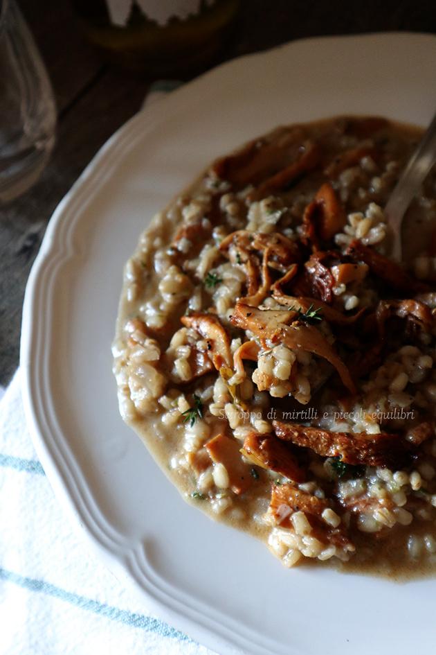 Orzotto con finferli, gorgonzola e mascarpone