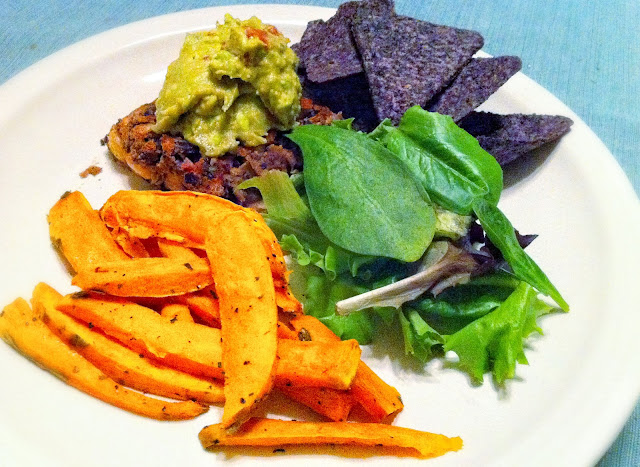 We enjoyed delicious and nutritious food for the Daniel Fast including sweet potato fries, salad, blue corn tortilla chips, a black bean patty, and guacamole. | brewedtogether.com