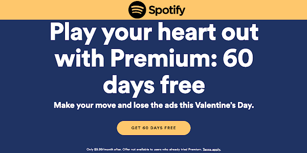 get 60 days of free Spotify Premium for Valentine's Day