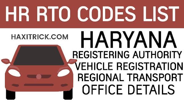 Haryana (HR) Vehicle Registration RTO Code List