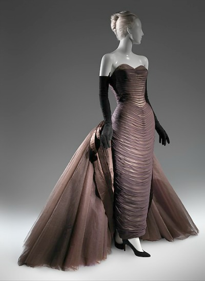 Long Sheath style dress with train in shape of butterfly by Charles James on manequin