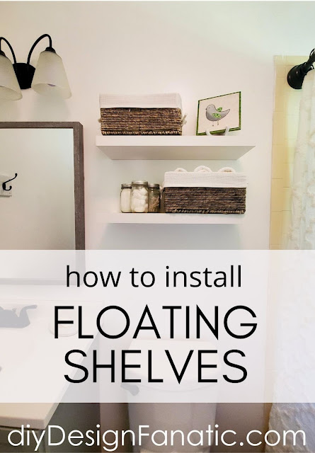 floating shelves, bathroom reno, bathroom makeover, full bath, mountain cottage
