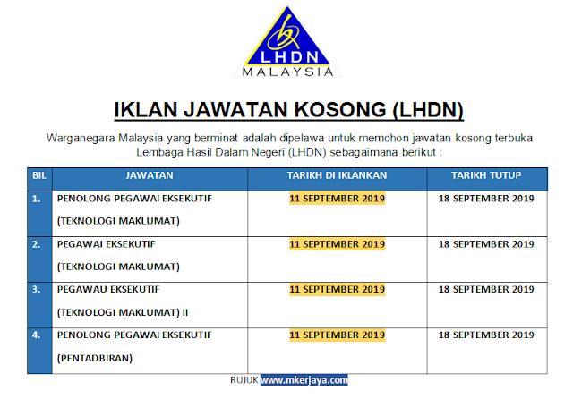 Pelbagai Jawatan Dibuka Lembaga Hasil Dalam Negeri Lhdn Mohon Sebelum 18 September 2019 Khamis Malaysia Kerjaya