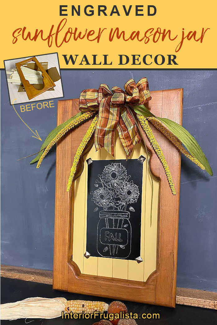 A unique engraved sunflower mason jar fall wall decor idea with Cricut aluminum sheets, repurposed shutter slats and upcycled thrift store wood frame. #fallwalldecor #masonjarcrafts #sunflowerwallart #cricutaluminumsheetideas