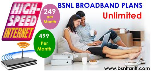 BSNL 249 Unlimited Broadband plan and 499 Unlimited Broadband plan