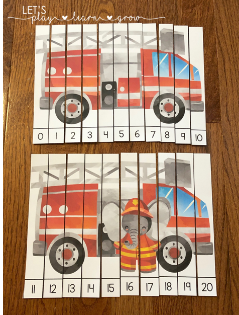 Fire Safety Themed counting puzzles