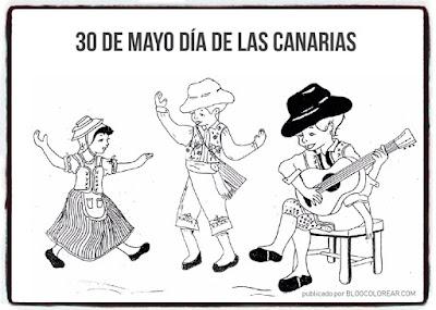 Folclore colorear día de Canarias