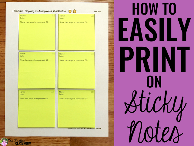 how to easily print on sticky notes mrs beattie 39 s classroom. Black Bedroom Furniture Sets. Home Design Ideas