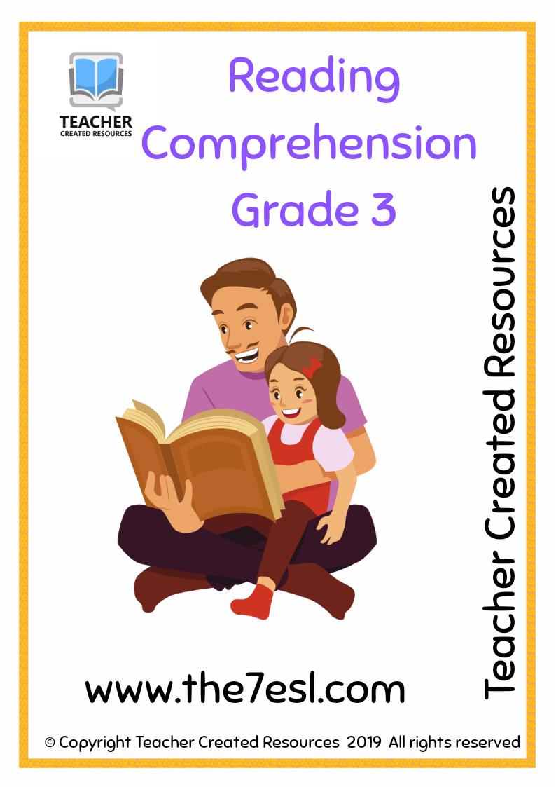 Reading Comprehension Worksheets Grade 3 [ 1123 x 794 Pixel ]