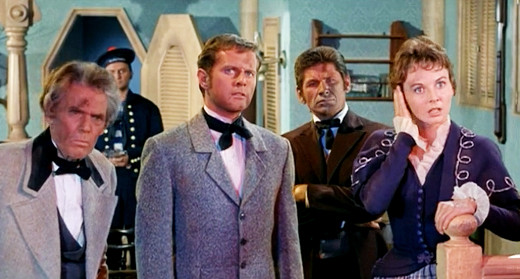 Henry Hull, David Frankham, Charles Bronson and Mary Webster in Master of the World, 1961