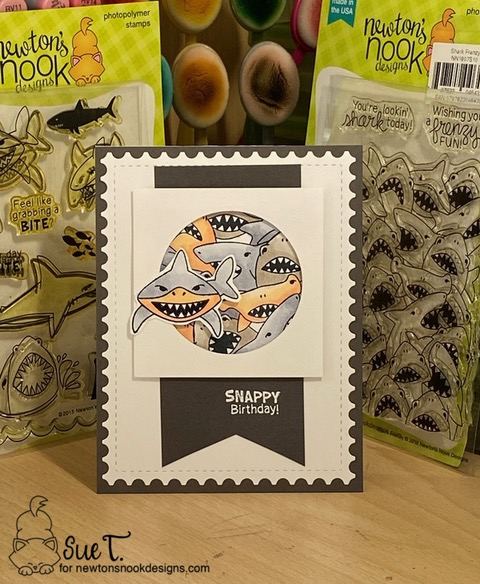 Snappy birthday by Sue features Shark Bites, Shark Frenzy Framework, and Fancy Edges Tag by Newton's Nook Designs; #inkypaws, #newtonsnook, #cardmaking, #sharkcards