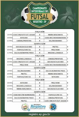 Municipal de Futsal Inter firmas terá 12 equipes participantes em Registro-SP